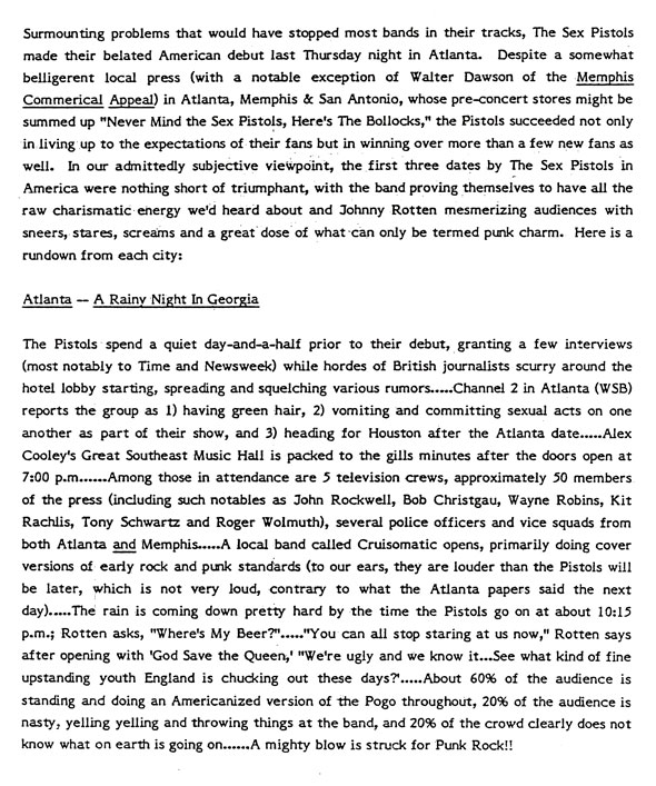 Page 2: Warner Brothers Press Report from Sex Pistols first US Tour, January 1978
