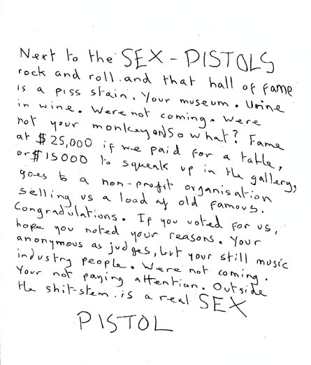 Official announcement from the Sex Pistols regarding the Rock n Roll Hall of Fame