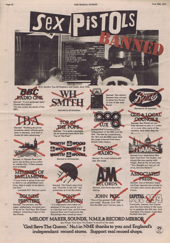 "GSTQ ""Banned"" Press Advert June 25th 1977 © courtesy NME / Virgn Records"