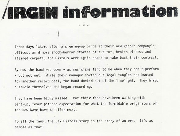 Page 4: Virgin Records Sex Pistols Biography 1977