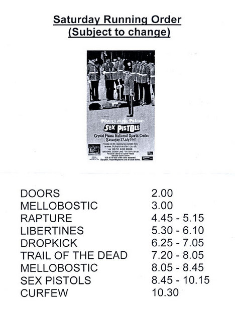 Crystal Palace National Sports Centre, London, UK, July 27th 2002 - Running Order