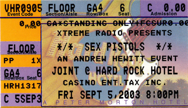 The Joint, Las Vegas, USA September 5th 2003 - Ticket
