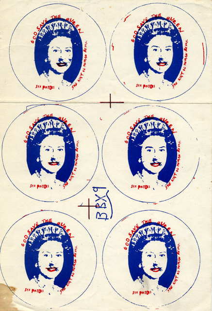 God Save The Queen - badge printers proof, 1977