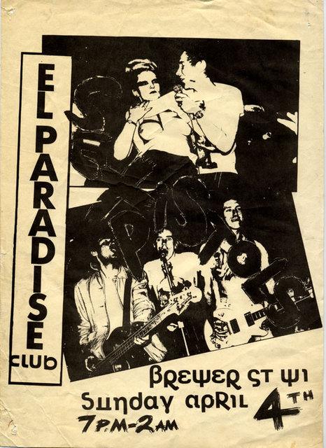 El Paradise Strip Club, Soho, London, April 4th 1976 - Flyer