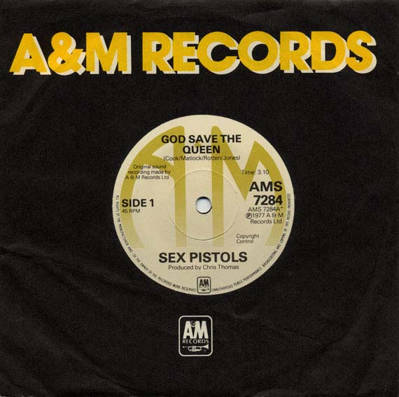 """A&M God save The Queen - Unreleased 7"""" single 1977 (sleeve)"""
