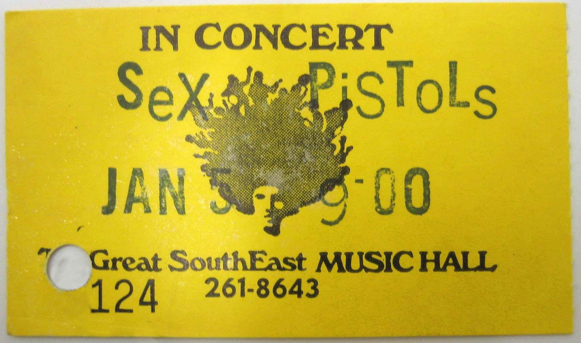 Great South East Music Hall, Atlanta, Georgia, USA, January 5th 1978 - Ticket
