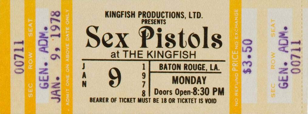 Kingfish Club, Baton Rouge, Louisiana, USA, September 9th 1978 - Ticket