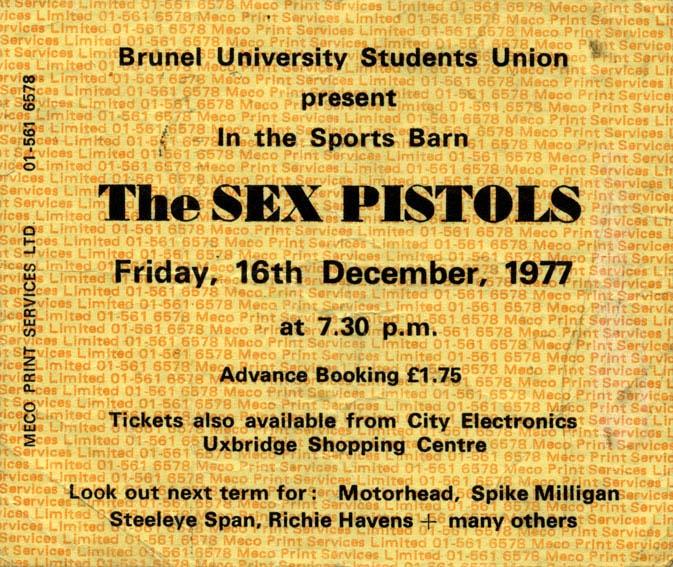 Brunel University, Uxbridge, December 16th 1977 - Ticket