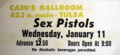 Cains Ballroom, Tulsa, Oklahoma, USA January 11th 1978 - Gig Ticket