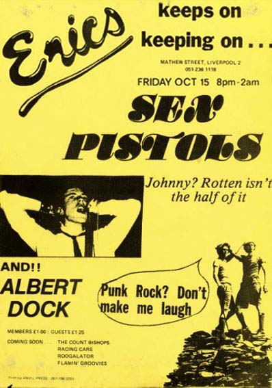 Eric's, Liverpool, October 15th 1976 - Flyer