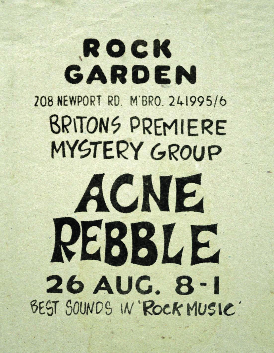 "Rock Garden, Middlesborough, August 26th 1977  – ""Acne Rabble"" - Poster"