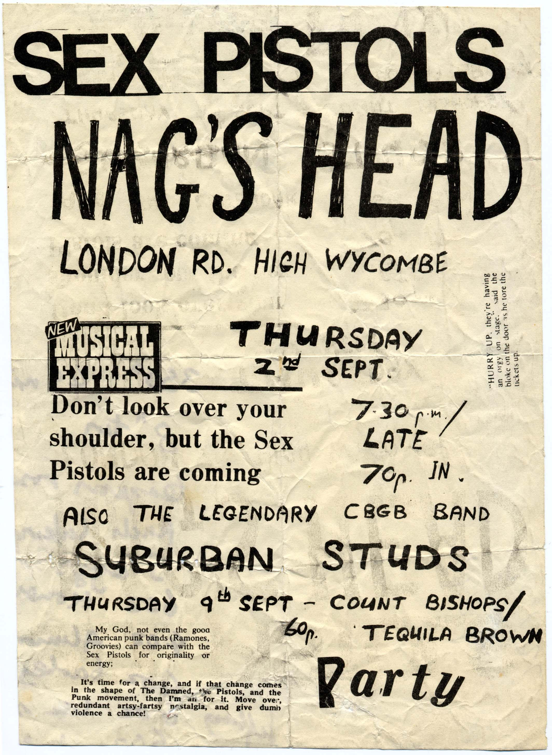 Nags Head, High Wycombe, September 2nd 1976 - Flyer