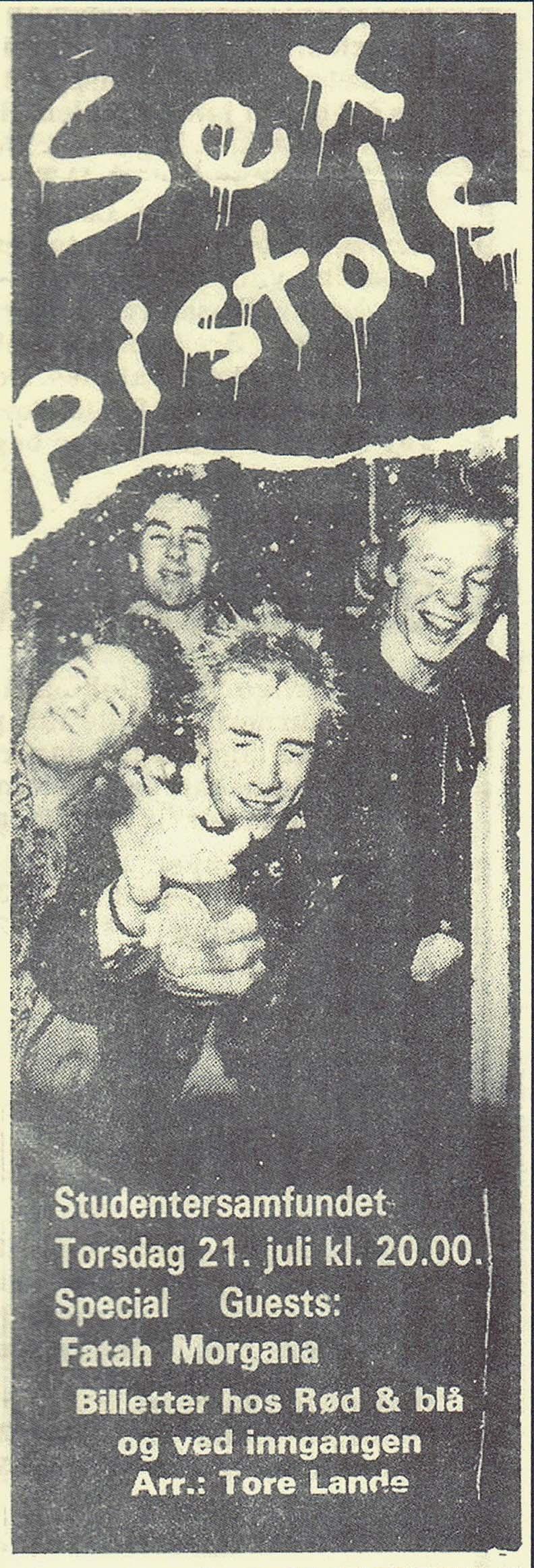 Studenter Samfundet, Trodheim, Norway, July 21st 1977 - Press Ad