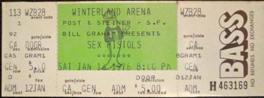 Winterland Ballroom, San Francisco, California, USA, January 14th 1978 - Ticket