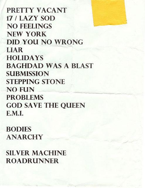 Combine Harvester Tour 2008  - Set List