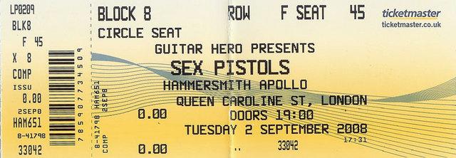 2.9.08 Hammersmith Apollo, London, UK - Ticket