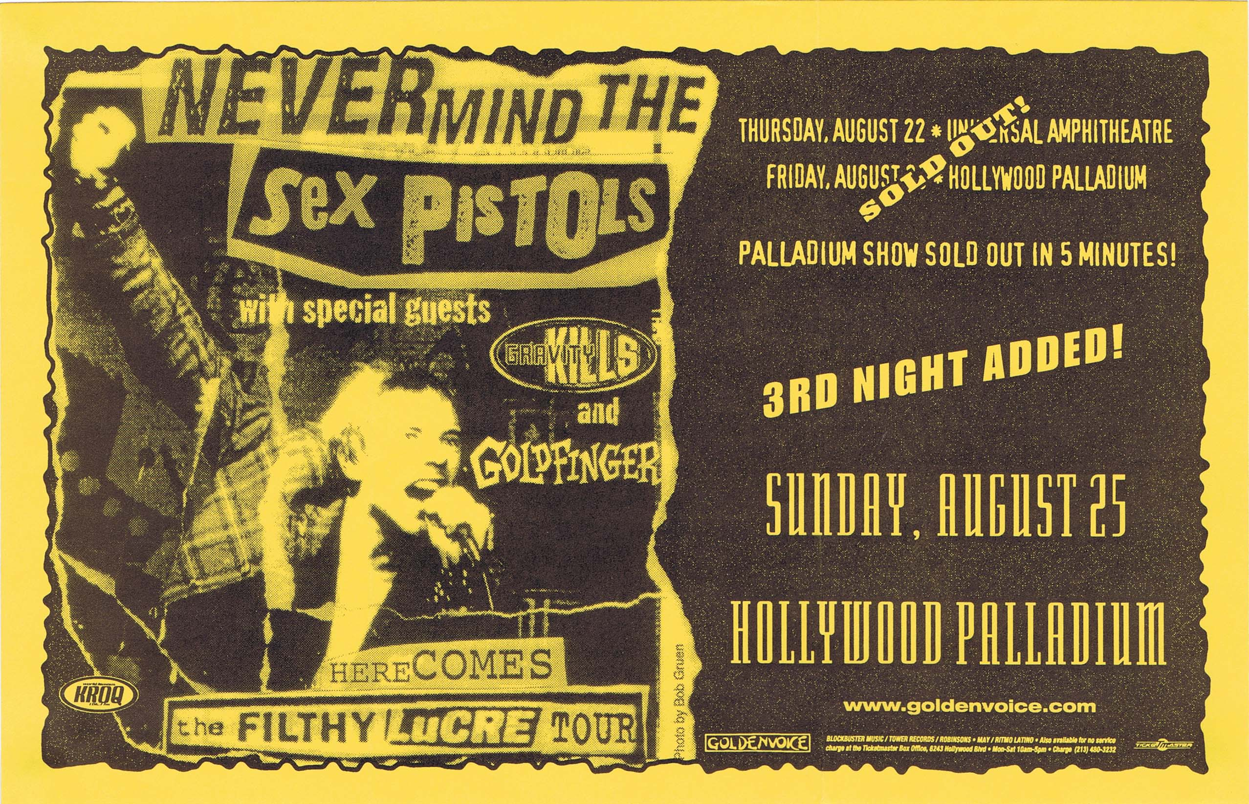 Hollywood Palladium, Los Angeles, California, USA, August 25th 1996 - Flyer