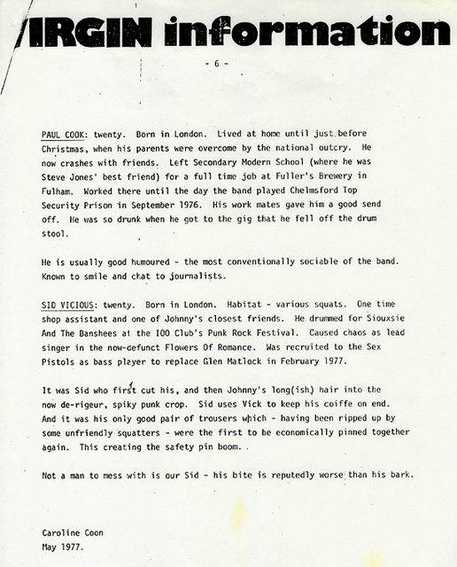Virgin Records Sex Pistols Biography, - Caroline Coon, May 1977