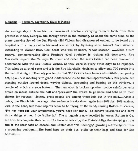 Warner Brothers press report from Sex Pistols first US Tour, January 1978