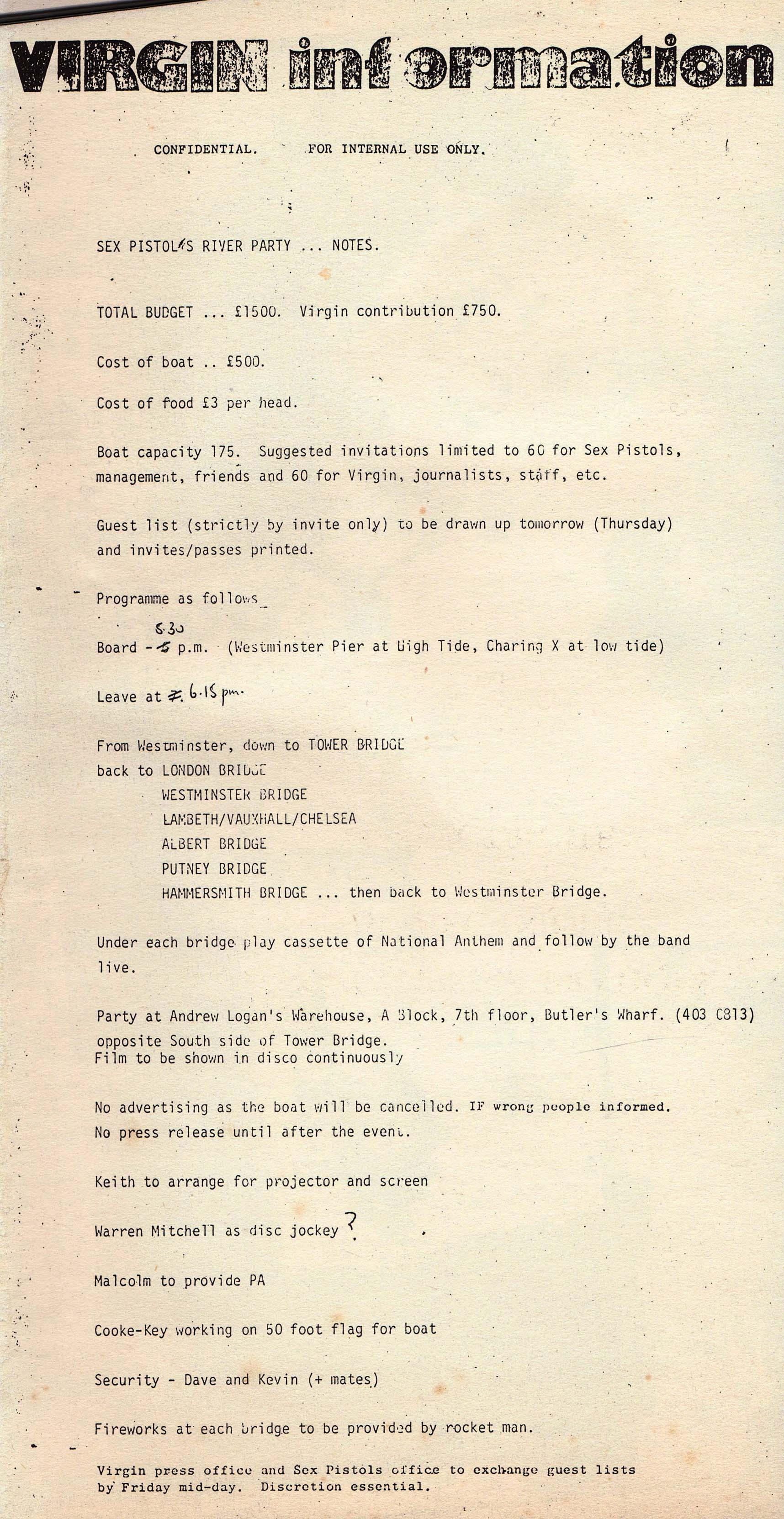 Virgin Records, River Boat Party, June 1977